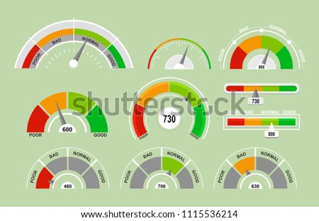 Vector illustration set of speedometers measuring icons. Indicators collection with different pointers in flat cartoon style.