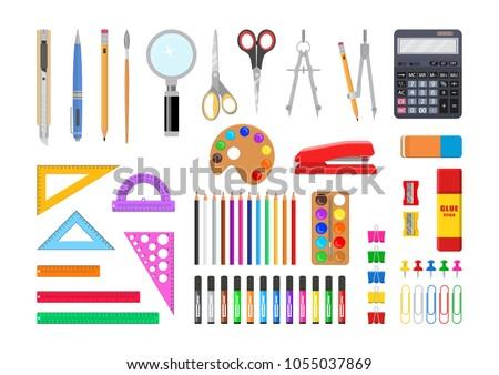 Vector illustration. Set of stationery tools.