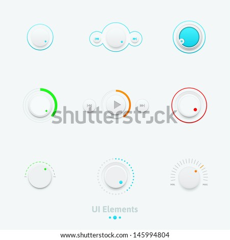 Vector illustration set of the detailed UI elements, switches and slider in metallic style. Good for your websites, blogs or applications.