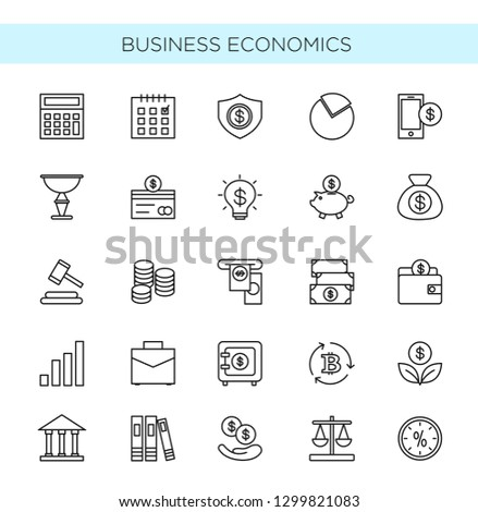 Vector illustration set of thin line icons of business and economics. Banking, money, trading objects and elements collection isolated on white background in flat modern style. #1299821083