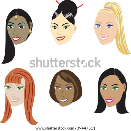 Vector Illustration set of 6 types of straight styles on a diverse set of women. Also available in hair extentions such as weaves and wigs or natural African-American and real hair styles.