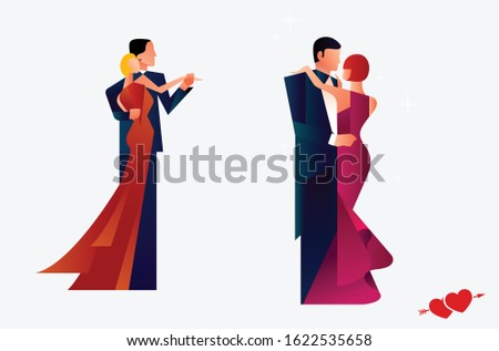 Vector illustration set of Valentine's day concept in style of paper with shadow, abstract background of love, lovers, couple, dinner, romance, wedding, kissing, heart shape design.