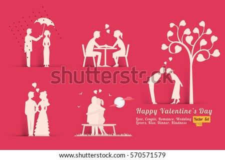 Vector illustration set of Valentine's day concept in style of paper with shadow, abstract background of love, lovers, couple, dinner, romance, wedding, kissing, heart shape.