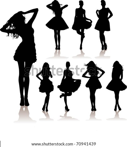 vector illustration set of various beautiful model girls