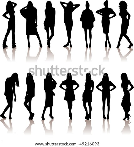 vector illustration set of various beautiful model girls in dress.Lady girls - stock vector