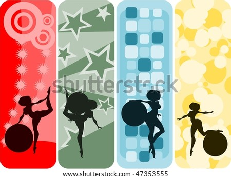 Vector illustration:set of vertical banners with girls and gymnastic balls silhouettes against abstract backgrounds. - stock vector