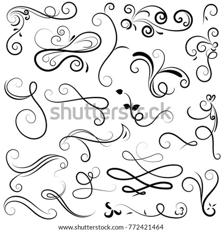 vector illustration set of vintage border calligraphic and dividers decorative, calligraphic swirl