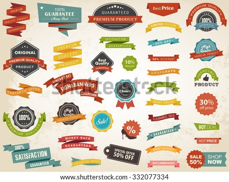 Vector illustration set of vintage Label, Banner Tag Sticker Badge and Ribbons design elements.