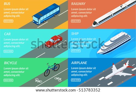 Vector illustration. Set of web banners of public passenger transport. Bus, car, bicycle, ship, train, plane. Design for tourism, rent, sale of tickets.