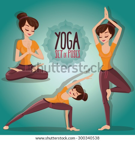 vector illustration set of yoga