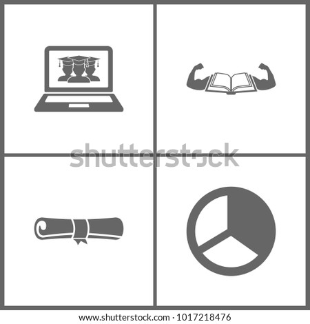 Vector Illustration Set Office Education Icons. Elements of virtual online education, Book and muscle, diploma and graph pie on white background