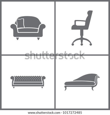 Vector Illustration Set Office Furniture Icons. Elements of Armchair, Refrigerator, Shelf and Television set icon on white background