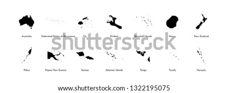 Vector illustration set with simplified maps of all Oceania states (countries: Australia, Micronesia, Fiji, Marshall islands and others). Black silhouettes, white background. Alphabet order