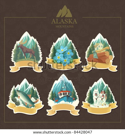 Vector illustration set woods forget-me-not majestic moose salmon fishing sledding