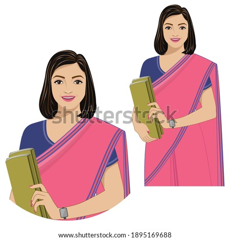 Vector illustration showing a cheerful lady wearing a sari holding books. Zdjęcia stock ©