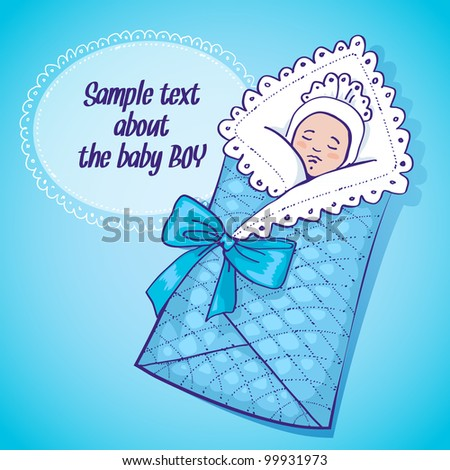 Vector illustration showing a newborn boy