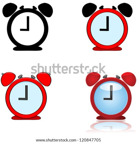Vector illustration showing alarm clock depicted in four different styles