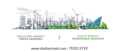 Vector illustration showing clean and polluting electricity generation production. Polluting fossil thermal coal and nuclear power plants versus clean solar panels and wind turbines renewable energy. stock photo