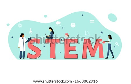 Vector illustration showing girls or women in STEM (Science, Technology, Engineering, Mathematics against a green background with symbols including equal sign, cog, cloud, graph, stars and a beaker.