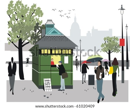 Vector illustration showing newspaper stall in London, England.