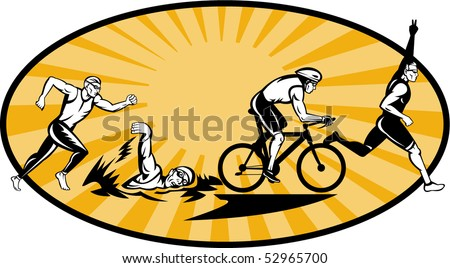 vector illustration showing the progression of Olympic triathlon showing an athlete starting, swimming, biking or cycling and finishing of with  a run.