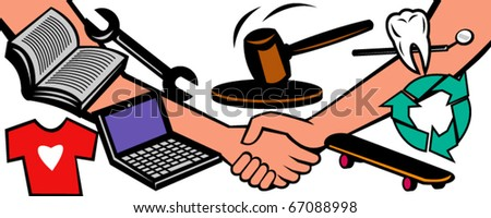 vector illustration showing two hands in handshake closing a deal at auction with gavel hammer goods and services like dental, repair, books, laptop computer, recycling services