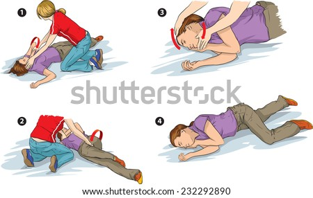 Vector illustration shows Recovery position (first aid). Stock photo ©