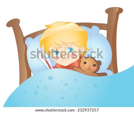 vector illustration  sick child
