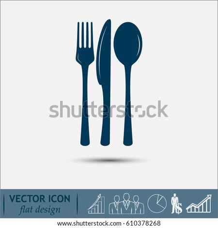 vector illustration sign with spoon, fork and knife.Menu card.