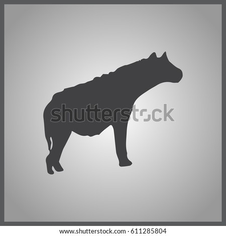 Vector illustration silhouette hyena standing. Hyena side view profile.