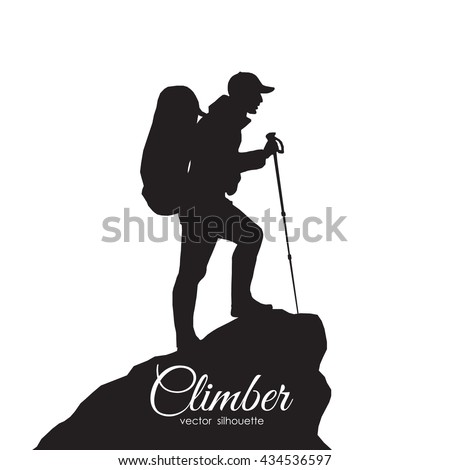 Shutterstock Vector illustration: Silhouette of a climber. Isolated hiker on white background