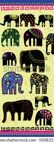 stock vector : vector illustration silhouette of a elephants with decorative pattern
