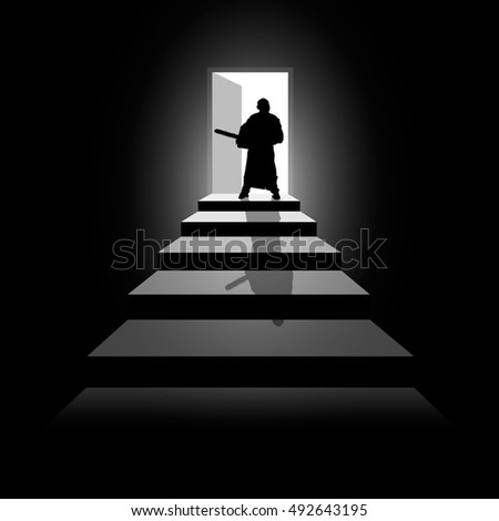 Vector illustration silhouette of a man at the door with a chainsaw.