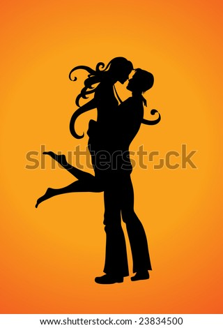 Vector  Illustration Silhouette of the romantic couple