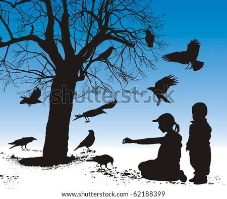 Vector illustration silhouettes of birds who are fed in winter children