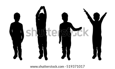 Vector illustration silhouettes of boy on white background.