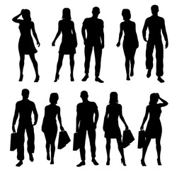 Vector illustration silhouettes of customers in a store, shopping center people with shopping bags