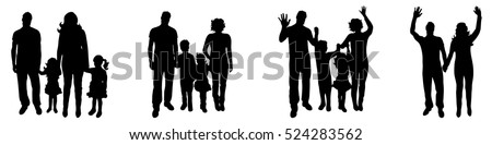 Vector illustration silhouettes of family on a white background