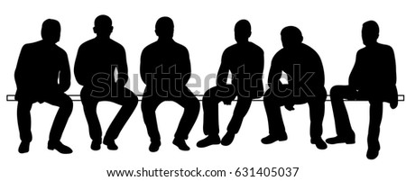 Vector, illustration, silhouettes of men sitting