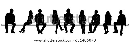 Vector, illustration, silhouettes people sitting