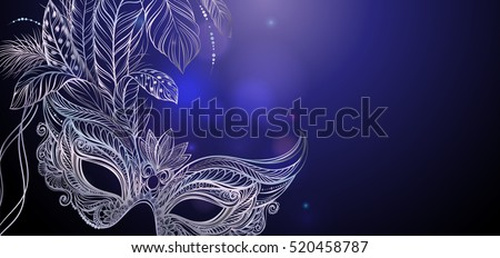 Vector Illustration. Silver carnival mask with feathers. Beautiful concept design for greeting card, party invitation, banner or flyer. Stock photo ©