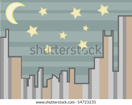 Vector illustration simple city background night