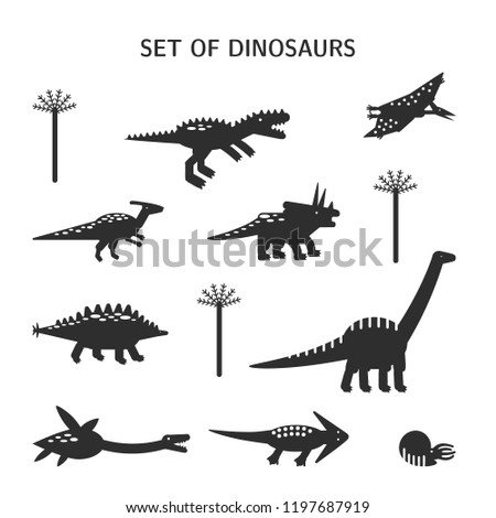 Vector illustration. Simple set flat style icons of different dinosaurs. Pictograms  for different design.