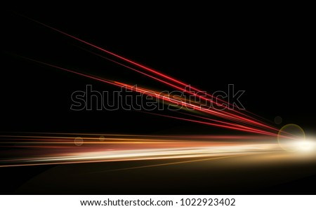 Vector illustration simulation of high speed lights at night traffic long exposure. Dynamic lights in one direction.