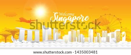 vector illustration Singapore city skyline. Travel Singapore. Welcome Singapore.