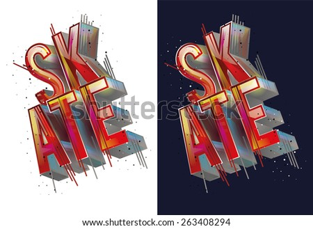 vector illustration skateboard freestyle street style legendary rider, graphics for t-shirt ,colorful vintage design