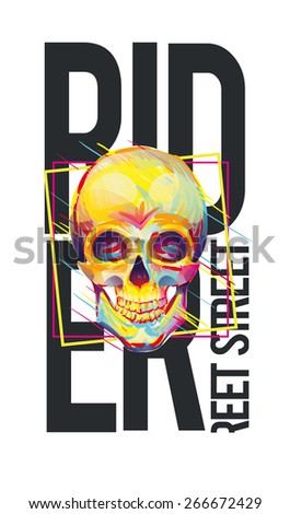 vector illustration skateboard freestyle street style legendary rider of colorful skull, graphics for t-shirt ,vintage design