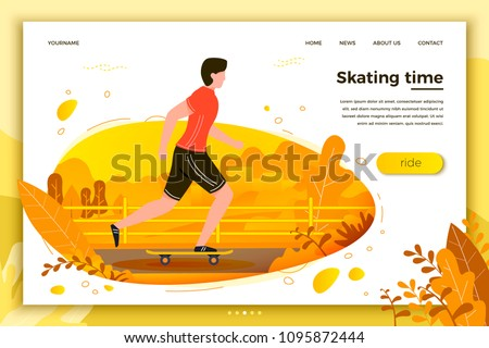 Vector illustration -  skating man in park. Forest, trees and hills on background. Banner, site, poster template with place for your text.