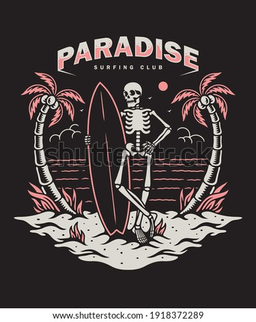 Vector illustration skeleton with a surf board, For t-shirts, stickers and other similar products.