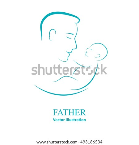 Stock Photo Vector illustration sketch father with a small baby. Logo dad and newborn baby on an isolated white background. Doodle hand-drawn line drawing. Man holding infant. Side view of the profile.